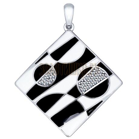 Подвеска из золочёного серебра с эмалью и фианитами 94031776