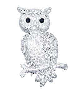 Серебряная брошь в виде совы украшенная фианитами 94040062