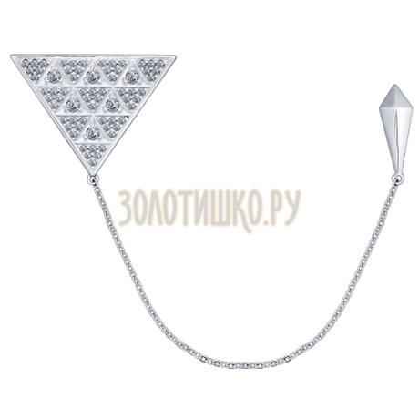 Брошь из серебра с фианитами 94040107