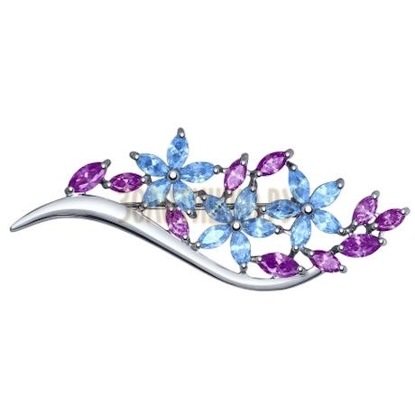 Брошь из серебра с голубыми и сиреневыми фианитами 94040117