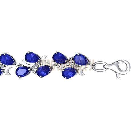 Красивый браслет из серебра с синим фианитом 94050147