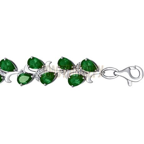 Браслет из серебра с зелеными фианитами 94050148
