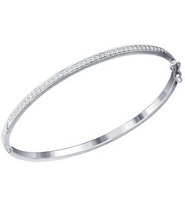 Белый браслет из серебра с фианитами 94050223