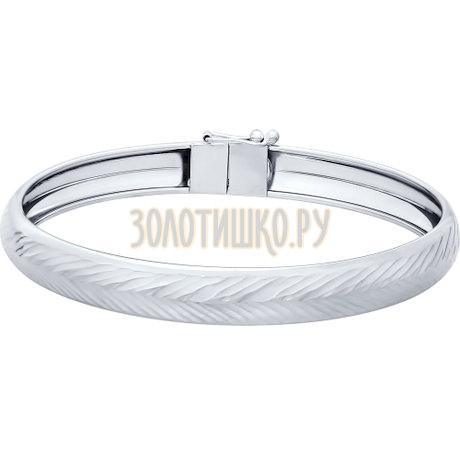 Браслет жёсткий из серебра с алмазной гранью 94050305