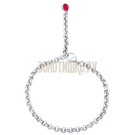 Браслет из серебра с красным фианитом 94050322