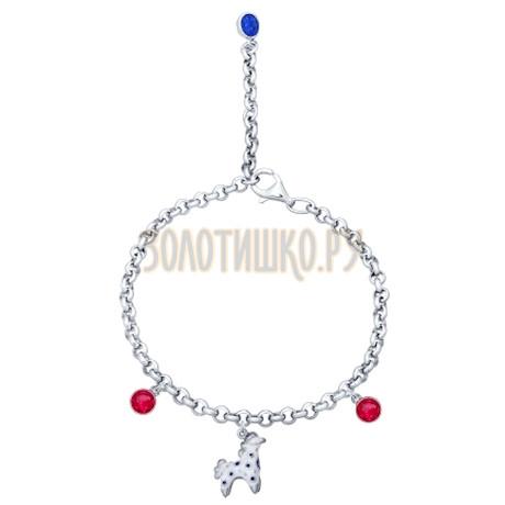 Браслет из серебра с эмалью с синими и красными фианитами 94050323