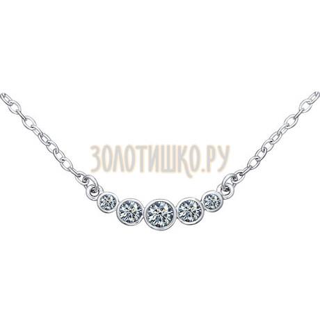 Колье из серебра с фианитами «Зимняя вишня» 94070045
