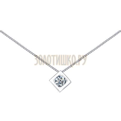 Колье из серебра с фианитом 94070056