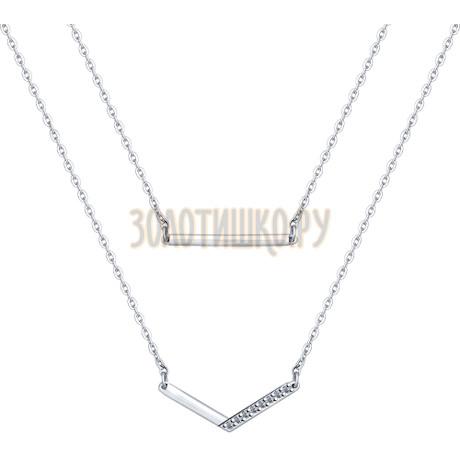 Колье из серебра с фианитами 94070089