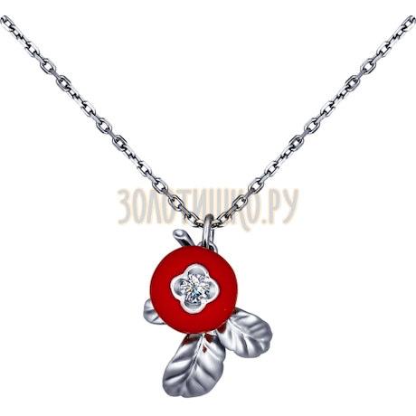 Колье из серебра с эмалью с фианитом 94070096