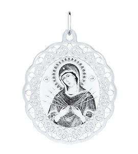 Серебряная иконка «Божья матерь Семистрельная» 94100142