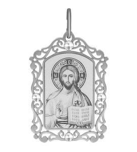 Иконка из серебра с алмазной гранью и лазерной обработкой 94100226