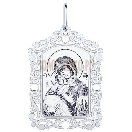 Иконка из серебра с алмазной гранью и лазерной обработкой 94100228