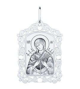 Нательная иконка из серебра «Божья матерь семистрельная» 94100230