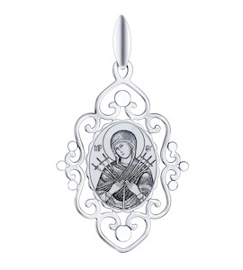 Иконка из серебра с алмазной гранью и лазерной обработкой 94100253