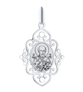 Иконка из серебра с алмазной гранью и лазерной обработкой 94100257