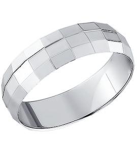 Обручальное кольцо из серебра с алмазной гранью 94110019