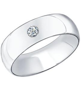 Обручальное кольцо из серебра с фианитом 94110023