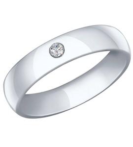 Обручальное кольцо из серебра с фианитом 94110024