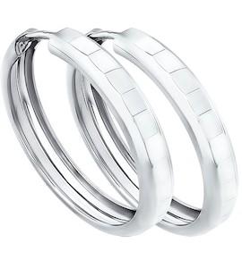 Серьги конго из серебра с алмазной гранью 94140062