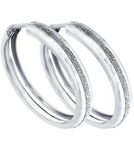 Серьги конго из серебра с алмазной гранью 94140063
