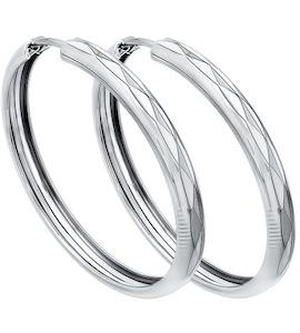 Серьги конго из серебра с алмазной гранью 94140064