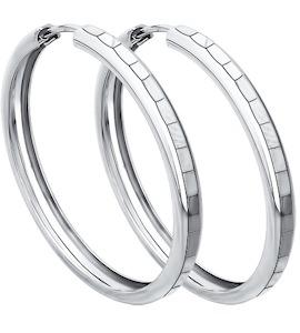 Серьги конго из серебра с алмазной гранью 94140065