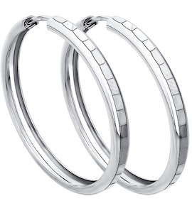 Серьги конго из серебра с алмазной гранью 94140067