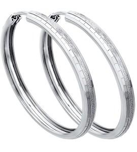 Серьги конго из серебра с алмазной гранью 94140068