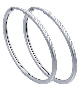 Серьги конго из серебра с алмазной гранью 94140073