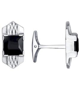 Запонки из серебра с чёрными фианитами 94160042