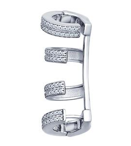 Серьга-кафф из серебра с фианитами 94170045