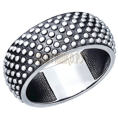 Кольцо из чернёного серебра 95010071