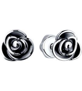 Серьги-пусеты из чернёного серебра 95020029