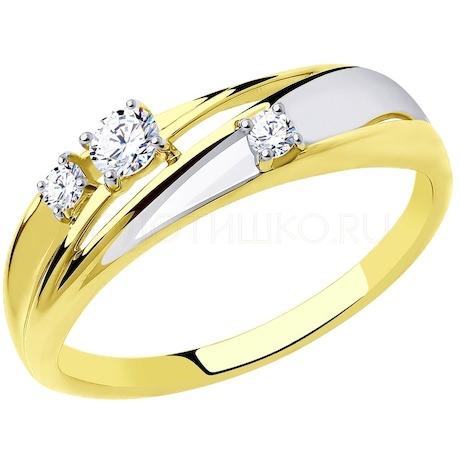 Кольцо из желтого золота с фианитами 018339-2