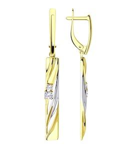 Серьги из желтого золота с фианитами 028526-2