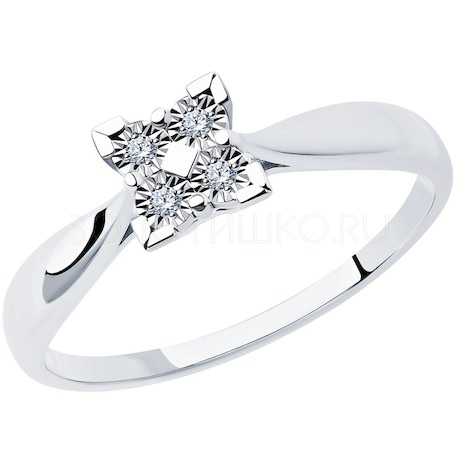 Кольцо из белого золота с бриллиантами 1011890-3