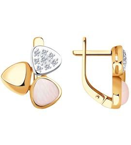 Серьги из золота с бриллиантами и дуплетами из натурального кварца и перламутра 1021435-7