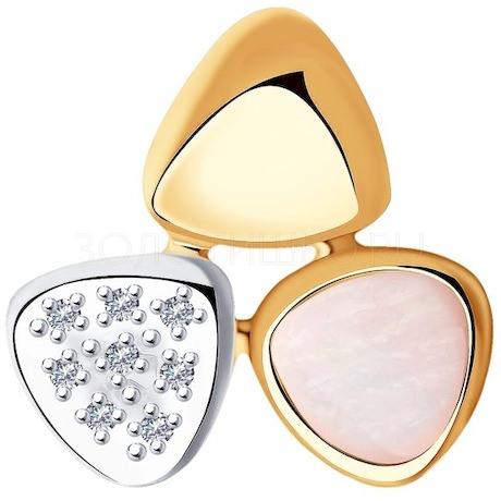 Подвеска из золота с бриллиантами и дуплетом из натурального кварца и перламутра 1030762-7