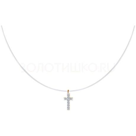 Колье из золота с искусственно выращенными бриллиантами 1070138-5