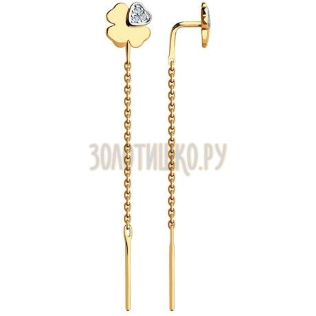 Серьги из золота с фианитами 51-123-00369-1
