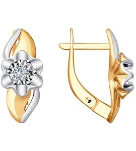 Серьги из комбинированного золота с бриллиантами 51-220-00019-1