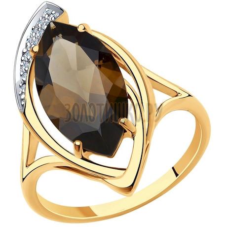 Кольцо из золота с раухтопазом и фианитами 51-310-00703-2