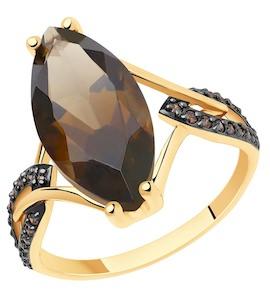 Кольцо из золота с раухтопазом и фианитами 51-310-00829-2