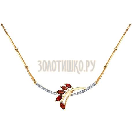 Колье из золота с гранатами и фианитами 51-370-00435-1