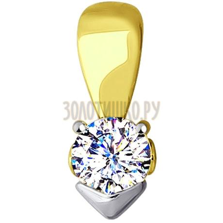 Подвеска из желтого золота с фианитом 53-130-00114-1