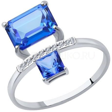 Кольцо из белого золота с бриллиантами и топазами Swarovski 6016012