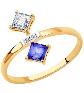 Кольцо из золота с бриллиантами и топазами Swarovski 6016013
