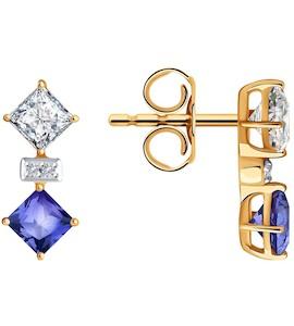 Серьги из золота с бриллиантами и топазами Swarovski 6026002