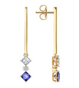 Серьги из золота с бриллиантами и топазами Swarovski 6026011